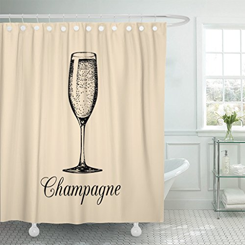 (Emvency Shower Curtain Champagne Glass Sketch of Spumante Alcoholic Drink White Sparkling Waterproof Polyester Fabric 60 x 72 Inches Set with Hooks)