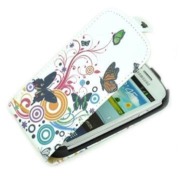 mariposa Flor PU Funda carcasa de Cuero Para Samsung Galaxy ...