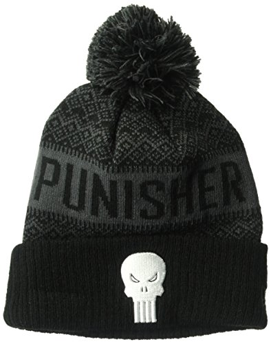 New Era Cap Young Men's Punisher Wintry Pom Knit Beanie Hat, Black, One Size]()