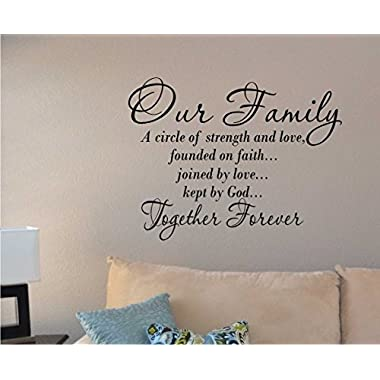 Our Family a Circle of Strength and Love Wall Vinyl Sticker Decal Home Decor Lettering (22  by 20 ) Made in USA