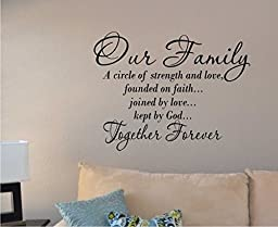 Our Family a Circle of Strength and Love Wall Vinyl Sticker Decal Home Decor Lettering (22\