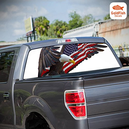 American Mud Flag Flap (Eagle Wings with American Flag Perforated Graphic Decal for Pickup Truck Rear Window (53