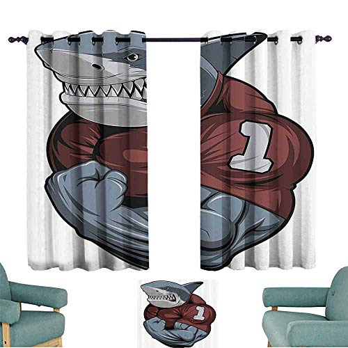 DILITECK Novel Curtains Animal Hipster Toothy Shark Shows Biceps Angry Bodybuilding Scary Fish Humor Graphic Thermal Insulated Tie Up Curtain W55 xL39 Burgundy Grey