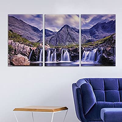3 Panel Canvas Wall Art - Landscape Waterfall in The Rocky Mountain - Giclee Print Gallery Wrap Modern Home Art Ready to Hang - 16