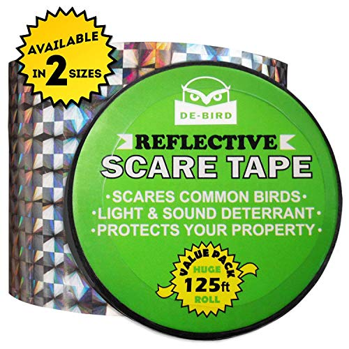 De-Bird Scare Tape - Simple Control Device to Keep Away Woodpeckers, Pigeons, Grackles and More. Defense Works Great with Netting and Spikes. Stops Damage, Roosting and Mess. Size (125ft roll)