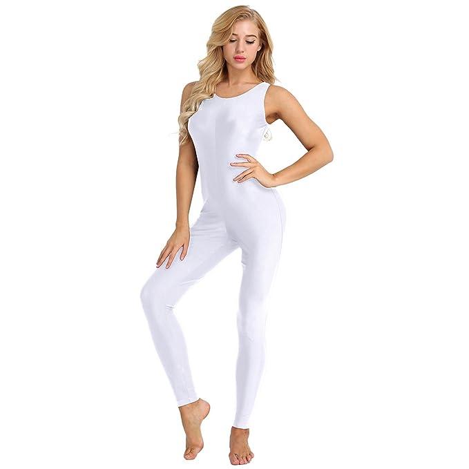 inlzdz Mujer Maillot Clásico de Danza Ballet Body Entero Sin Manga Leotardo Gimnasia Elástico Mono Color Liso Bodysuit Deportivo para Yoga Gimnasia ...