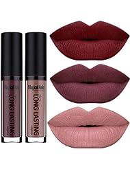 SHERUI Beauty Set of 3 Waterproof Matte Liquid Lipstick...