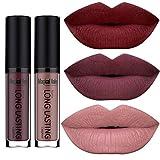 SHERUI Beauty Set of 3 Waterproof Matte Liquid Lipstick Long Lasting Lip Gloss Lipstick