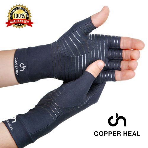 COPPER HEAL Arthritis Compression Gloves - Best Medical Copper Glove Guaranteed to Work for Rheumatoid Arthritis, Carpal Tunnel, RSI Osteoarthritis & Tendonitis Open in Fingers Fingerless Fit Size S by COPPER HEAL (Image #2)