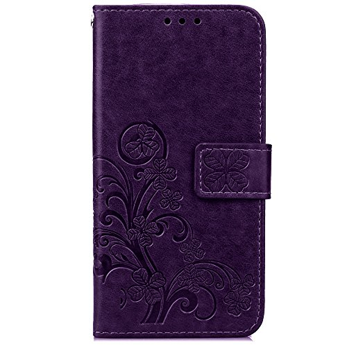 Cuitan PU Leather Case for Samsung Galaxy S7 Edge, Four Leaf Clover Stand Wallet Case with Card Slots & Lanyard, Magnetic Closure Flip Protective Case Cover Shell Skin for Samsung S7 Edge - Purple
