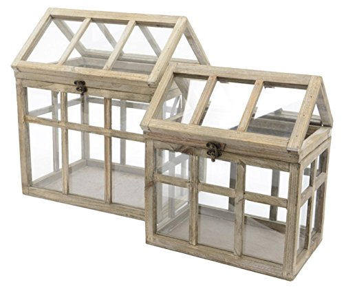Kaemingk Set of 2 French Countryside Distressed Tan Natural Wood Terrarium Greenhouses 16.5'' by Kaemingk