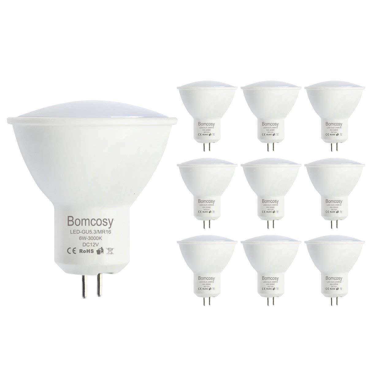 Bomcosy Bombillas LED GU5.3 12V Casquillo MR16 6 W equivalente a 50 W Luz Blanca Cálida 3000K 120 Grados Inundaciones Ángulo 510 Lumens No Regulable Pack de ...
