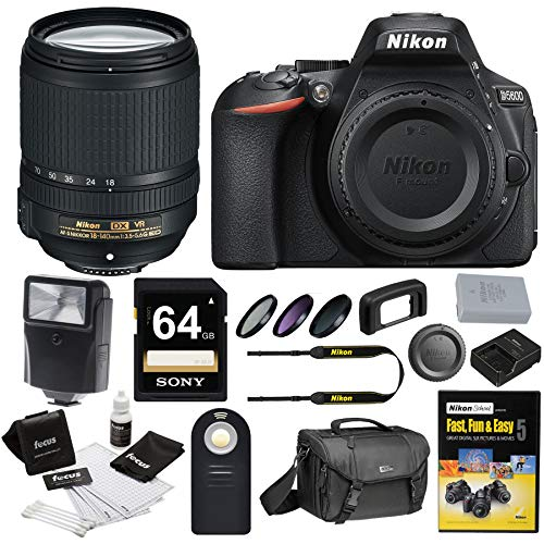 Nikon D5600 DSLR Camera with 18-140mm Lens and Nikon Case and 64GB Bundle