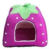 S-XXL Size Lovely Strawberry House for Pet Dog Cat Rabbit Guinea Pig Squirrel Nest Bed Foldable (M:313131CM - less than 1.5KG pet - Purple)