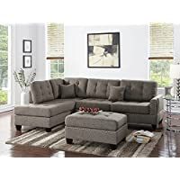 Benzara BM168668 Polyfiber Sectional Sofa with Ottoman and Cushion, Light Brown