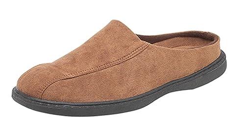 Zapatillas de estar por casa marrones con suela dura de ante falso para hombre: Amazon.es: Zapatos y complementos