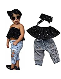 Kids Baby Girl Dot Wrapped Tops + Hole Jeans Pant + Headband Outfits Clothes Set