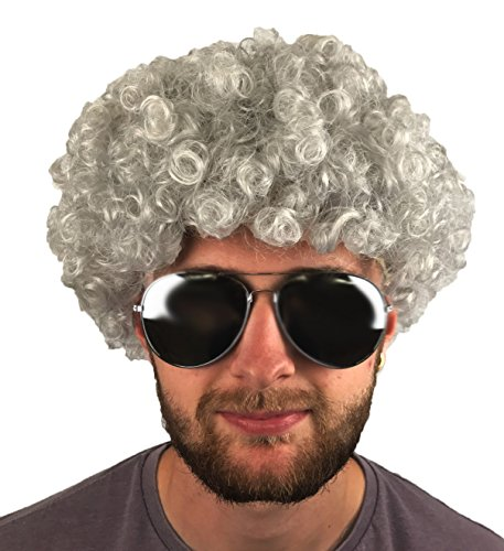 Fancy Dress Afro Wigs (REDSTAR Afro Curly Wig Fancy Dress Cosplay Wigs Pop Party Costume (Grey))