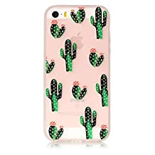 iPhone 5S 5 Soft Case, iPhone SE Cover Clear, GreenDimension Beautiful Cactus Pattern Flexible TPU Silicone Case Premium Matte Rubber Back Hybrid Shock Absorption Skin Protective Shell + Stylus Pen
