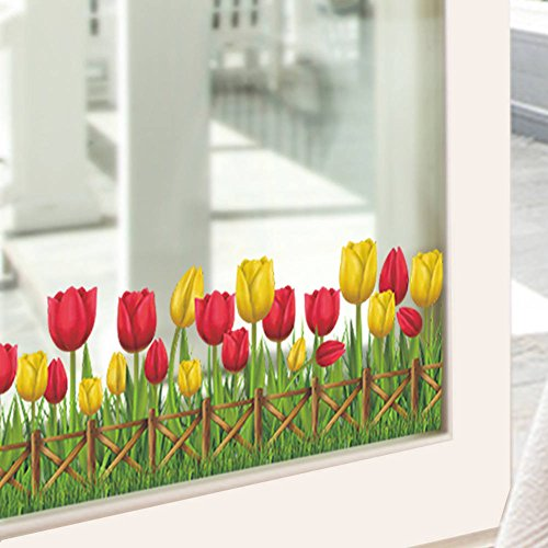 BIBITIME Garden Flower Yellow Red Tulip Border Fence Wall Decal Baseboard Skirting Sticker for Shop Showcase Display Window Decor Children Nursery DIY Art Mural