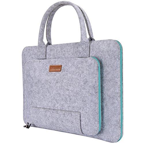 Ropch 13 13,3 Zoll Filz Notebooktasche Ttragbare Laptop Tasche Hülle Sleeve Case für Apple Apple Macbook Air / MacBook Pro, Microsoft, Lenovo - Grau&Hellblau
