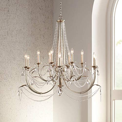 Strand Silver Leaf Large Chandelier 46″ Wide Beaded Crystal Candle 12-Light Fixture