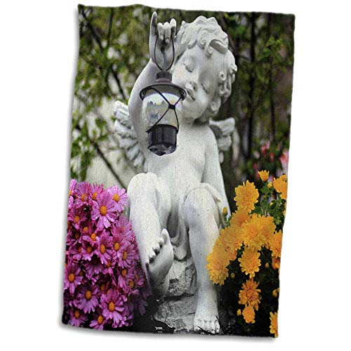 (3dRose Stamp City - Architecture - Photograph of Angel Garden Statue with Pink and Yellow Chrysanthemums. - 15x22 Hand Towel)