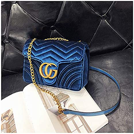 cbed5fcbb7e2 Gentle C GC Marment Style 443497 Velvet Shoulder Bag Women's Velvet Simple  Elegant Quilted Shoulder Bag Stylish Crossbody Bag Golden Chain-Small Blue