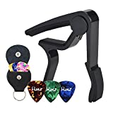 Guitar Picks Guitar Capo Acoustic Guitar Accessories Capo Key Clamp Black With Free 6 Pcs Guitar Picks and Leather Guitar Picks Holder (Black)