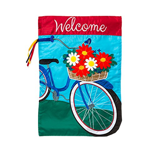 "Evergreen Summertime Bicycle Double-Sided Appliqué Garden Flag - 12.5"" W x 18"" H"