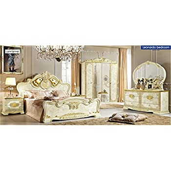 queen size bedroom set. ESF Leonardo Queen Size Bedroom Set in Ivory Lacquer Finish By Camelgrup  Italy Amazon com Barocco Traditional Veneer with Gold Accents