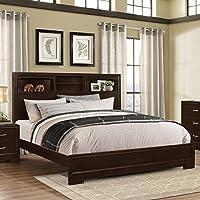 Roundhill Furniture Montana Modern Wood Bookcase Bed, King, Walnut