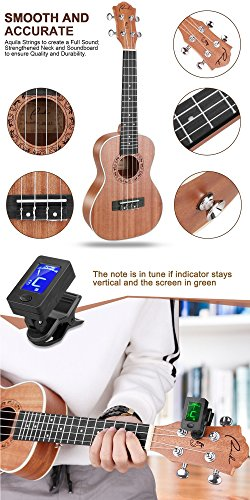 Concert Ukulele Ranch 23 inch Professional Wooden ukelele Instrument Kit With Free Online 12 Lessons Small Hawaiian Guitar ukalalee Pack Bundle Gig bag & Digital Tuner & Strap & 4 Aquila Strings Set - Image 3