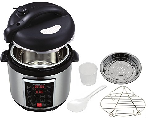 GoWISE USA GW22623 4th-Generation Electric Pressure Cooker with  steam rack, steam basket, rice scooper, and measuring cup, 8 QT