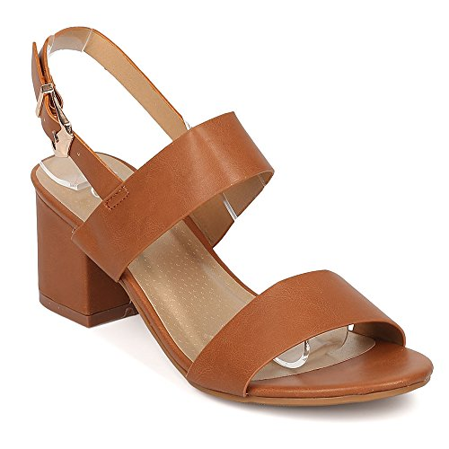 ShoBeautiful Women's Chunky Heel Sandal Ankle Strap Slingback Block Heeled Casual Summer Shoes Tan 5.5