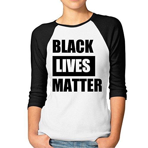 ZOENA Women's Three Quarter Sleeve Tshirts - Black Lives Matter Black ()