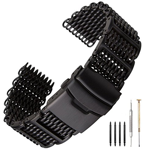 20/22/24mm H-Link Shark Black Stainless Steel Mesh Strap Wrist Watch Band Heavy Duty Diving Watch Strap Mens (24mm)