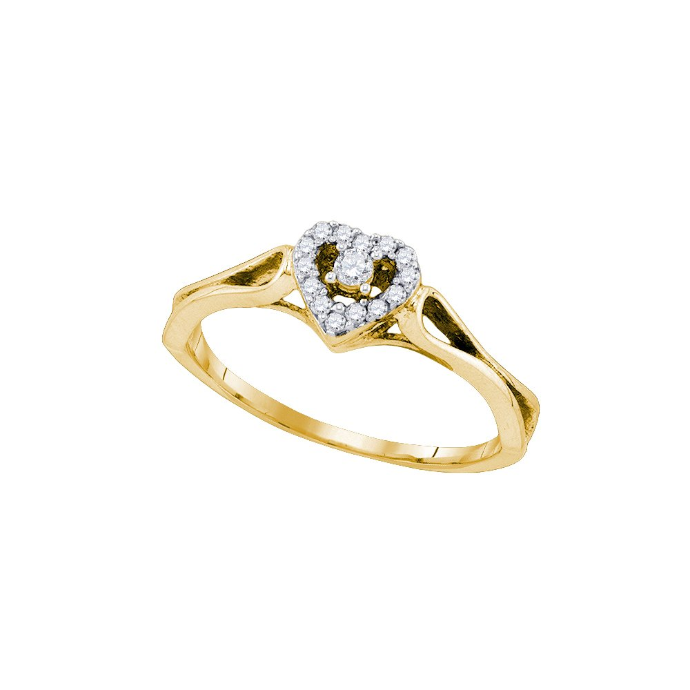 10kt Yellow Gold Womens Round Diamond Heart Love Promise Bridal Ring 1/10 Cttw (I2-I3 clarity; J-K color) by Jewels By Lux (Image #1)