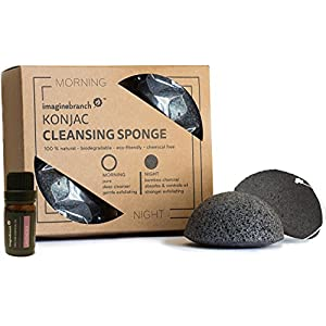 Pure Konjac Activated Charcoal Facial Sponge | 2 Pack Exfoliating & Cleansing Normal, Sensitive, Oily & Acne Prone Skin, Gentle Natural to Scrub and Exfoliate with Essential Oil (Lavender)