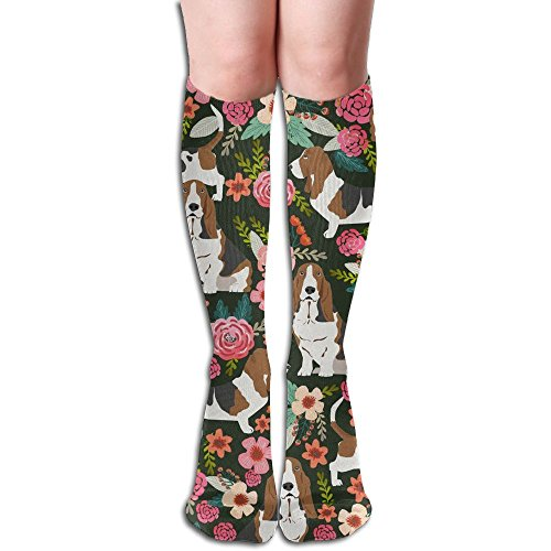 Unisex Compression Socks For Running,Nurses,Shin Splints,Travel,Flight,Pregnancy & Maternity. (Cute Basset Hounds)