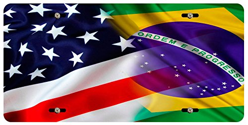 BleuReign(TM) Mixed USA and Brazil Flag Car Vehicle License Plate Auto Tag (Brazil Flag Car)