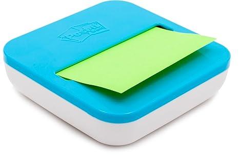Post-it Spender mit Saugnapf  in blau//wei/ß f/ür Super Sticky Z-Notes praktischer Helfer f/ür B/üro und Schularbeiten mit 8 zus/ätzlichen Haftnotizbl/öcken