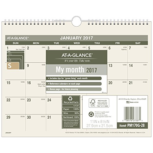 "AT-A-GLANCE Wall Calendar 2017, Monthly, 11 x 8-1/2"", Unruled, Recycled (PM170G-28)"