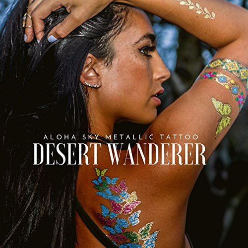 [Aloha Sky Desert Wanderer Metallic Temporary Tattoos | Festival Flash Tats for Electric Daisy Carnival, Lollapalooza, Burning Man | Desert Wanderer] (Best Womens Comic Con Costumes)