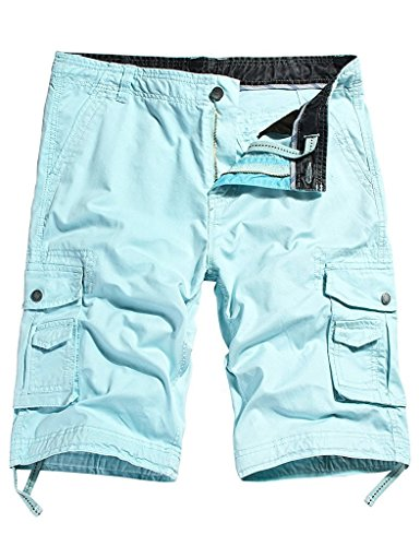 Mokor Art Men's Cotton Twill Cargo Shorts Outdoor Wear Lightweight No.4 Skyblue
