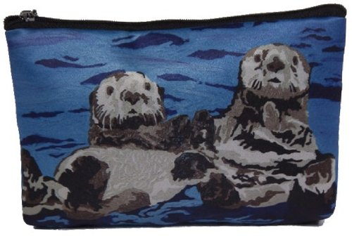 Cosmetic Bag, Zipper Pouch - Zip-top Closer - Taken From My Original Paintings - Animals (Sea Otters - Best Friends)