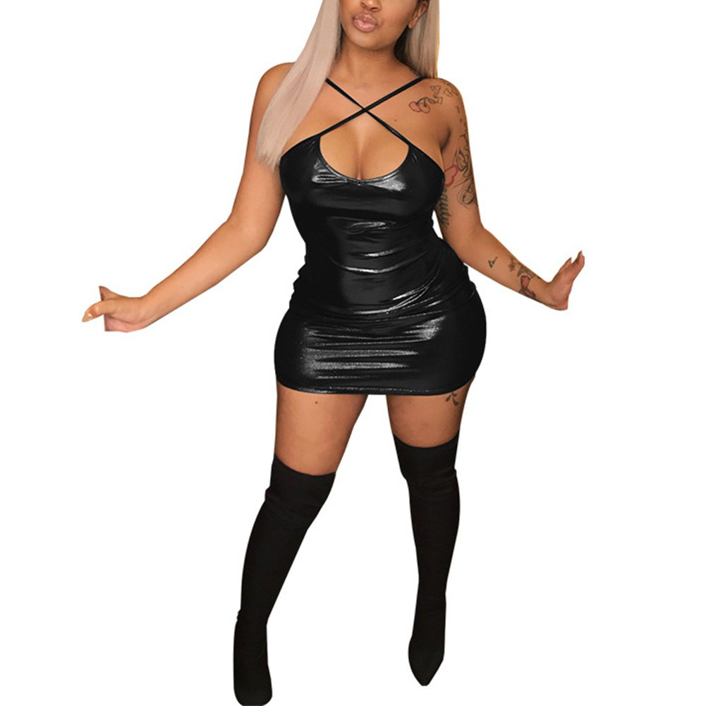 59f1c9cc0 The sexy slim fit PU metallic wetlook leather dress can be matched with  boots