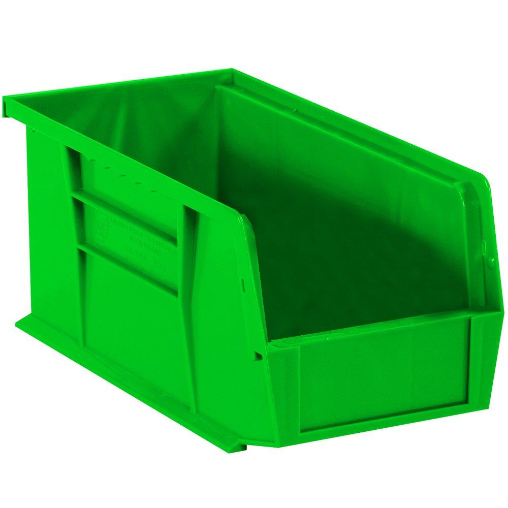 Aviditi BINP1155G Plastic Stack and Hang Bin Boxes, 10 7/8'' x 5 1/2'' x 5'', Green (Pack of 12)