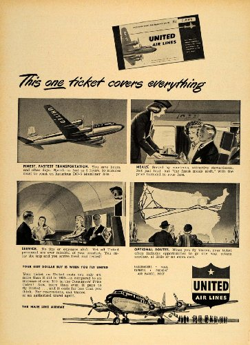 1949 Ad United Airlines Stewardess DC-6 Mainliner 300 - Original Print - United Dc Airlines