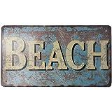 """Rustic Tin Beach Sign 10"""" - Tin Beach Sign - Metal Beach Sign - Beach Living"""